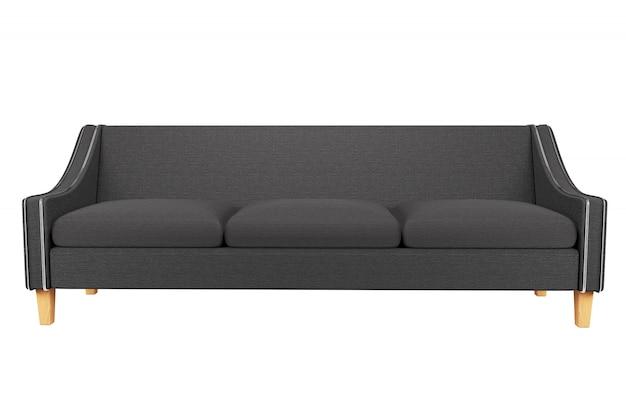 Divano grigio e sedia in pelle tessuto