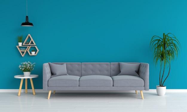 Divano grigio in salotto blu, rendering 3d