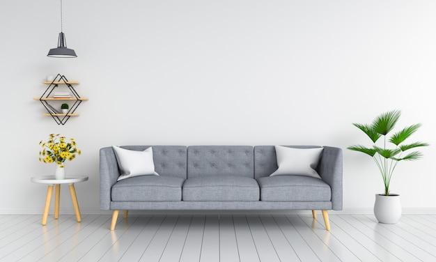 Divano grigio nel soggiorno per il mockup