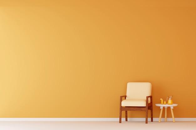 Divano in soggiorno arancione. rendering 3d.