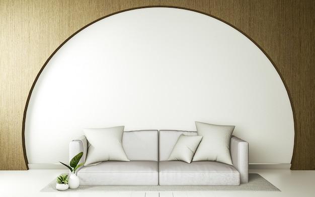 Divano in stile giapponese nella sala giapponese e lo sfondo bianco offre una finestra per l'editing.
