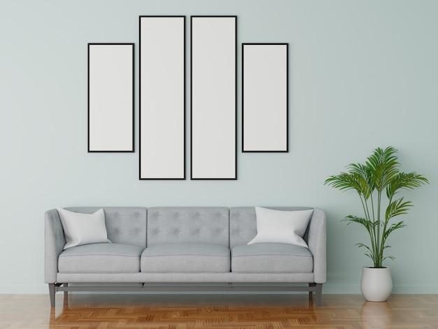 Divano moderno in soggiorno azzurro. stile di colore pastello. rendering 3d.