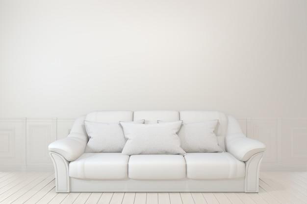 Divano, pianta e lampada nella stanza vuota con muro bianco.