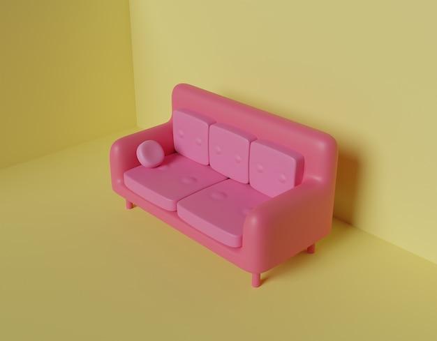 Divano rosa abstract 3d rendering.
