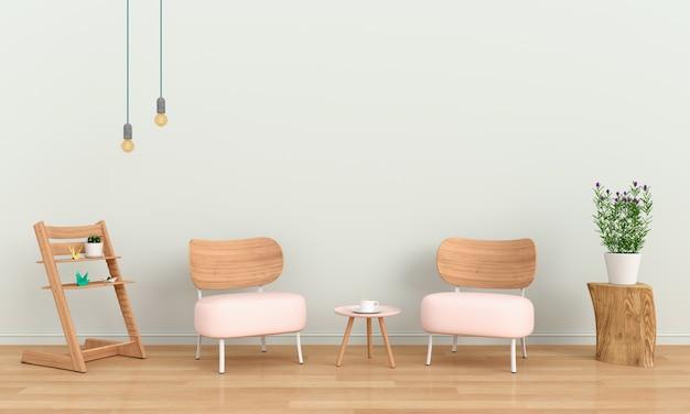 Divano rosa in camera per il mockup, il rendering 3d
