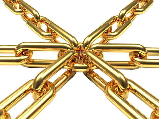 Diverse catene d'oro collegate su un anello