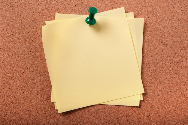 Diverse note posticce appiccicose appuntate alla bacheca di sughero