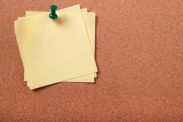 Diverse note posticce appiccicose appuntate allo spazio della copia del bordo del sughero