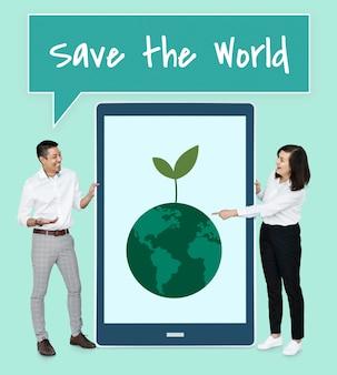 Diverse persone che vogliono salvare il mondo
