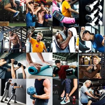 Diverse persone nella compilazione di immagini palestra fitness