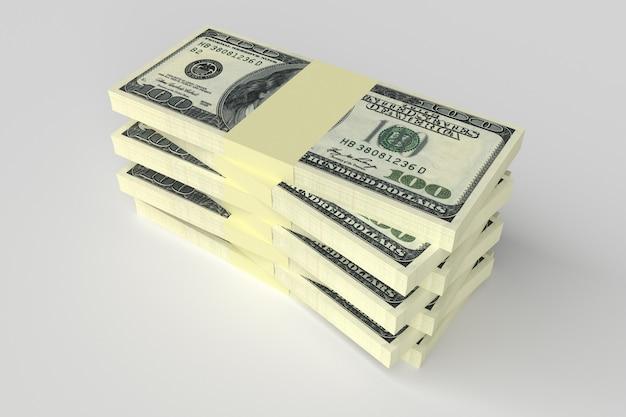 Diversi pacchi di denaro dollari giacciono uno sopra l'altro