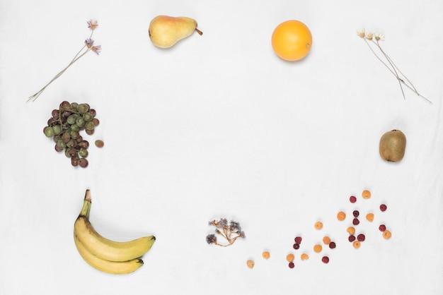 Diversi tipi di frutti isolati su sfondo bianco con spazio per la scrittura di testo