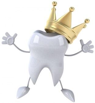 Divertente dente illustrato con una corona