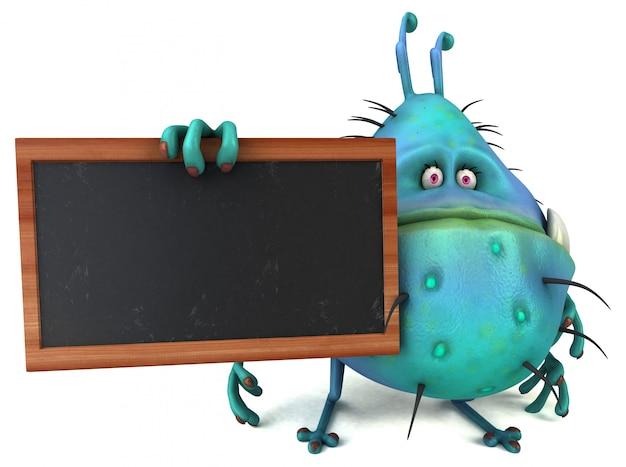 Divertente mostro di insetto germe 3d con una lavagna