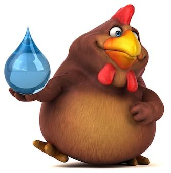 Divertente personaggio di pollo isolato