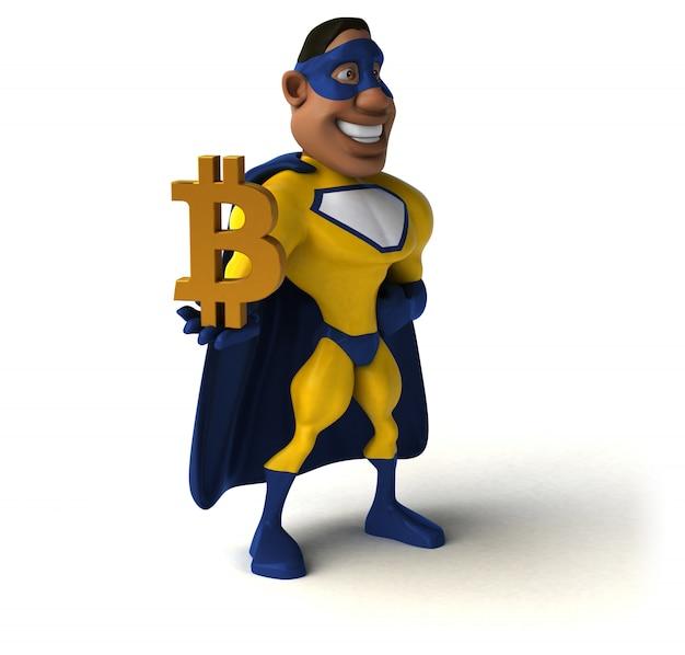 Divertente supereroe illustrazione 3d
