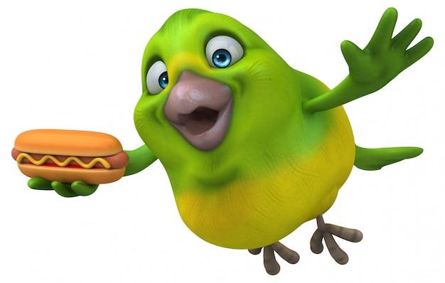 Divertente uccello verde con hot dog