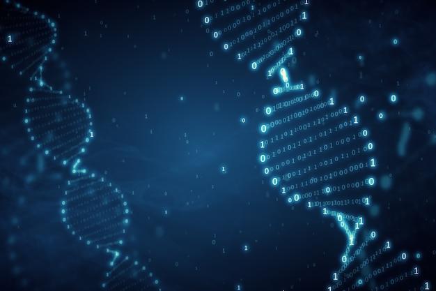 Dna da un codice binario su una priorità bassa blu con l'illustrazione del fumo 3d