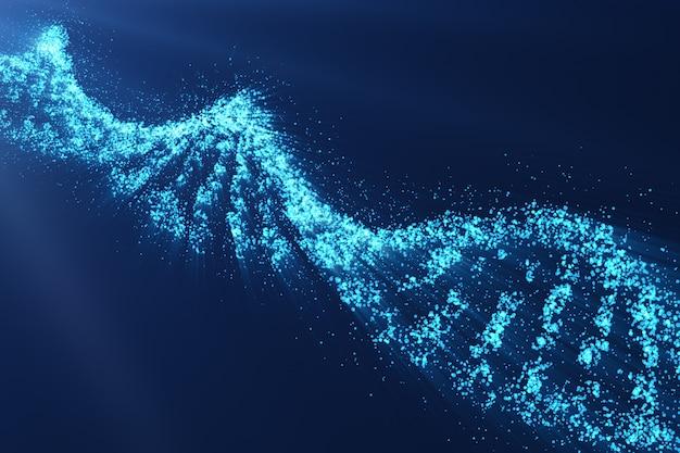 Dna rotante, concetto scientifico di ingegneria genetica, tinta blu. rendering 3d