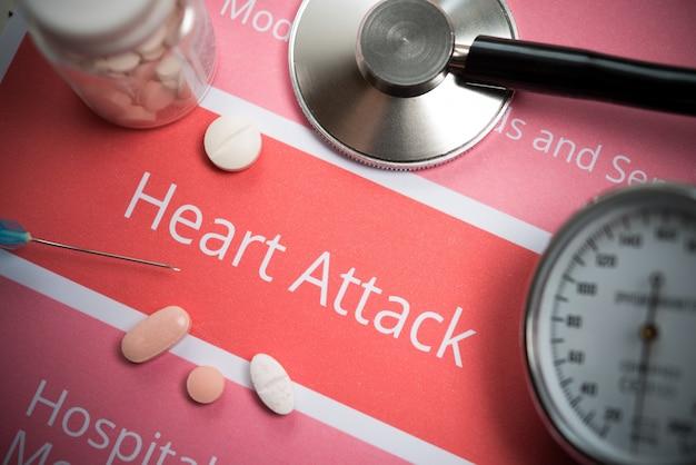 Documenti relativi agli attacchi di cuore, strumenti medici e farmaci