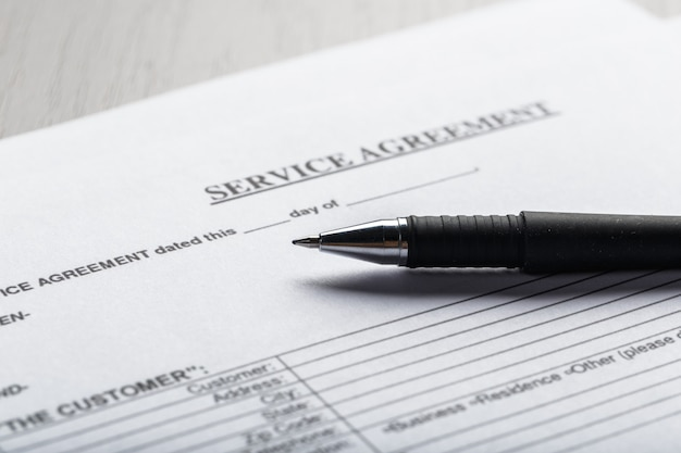 Documento di contratto di locazione o noleggio