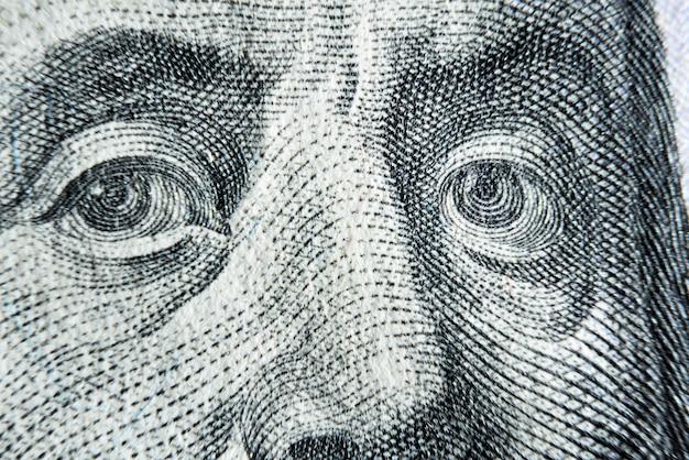 Dolar usa vicino. franklin occhi macro