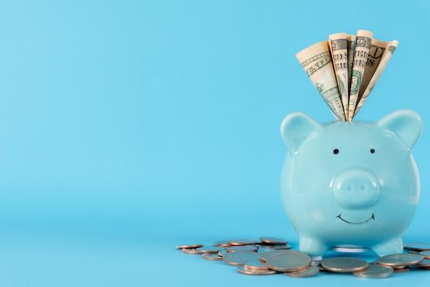 Dollari delle banconote dei dollari dell'america nel porcellino salvadanaio blu pastello su fondo blu.