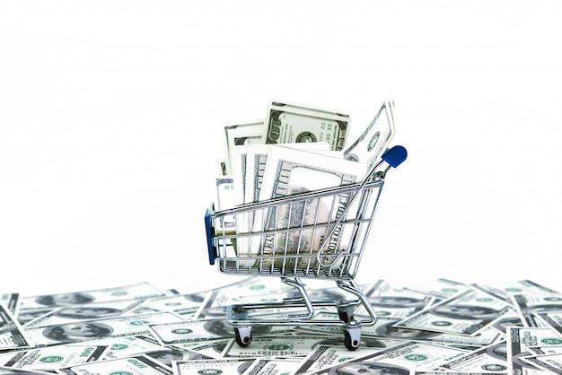 Dollari in carrello di acquisto isolato su priorità bassa bianca