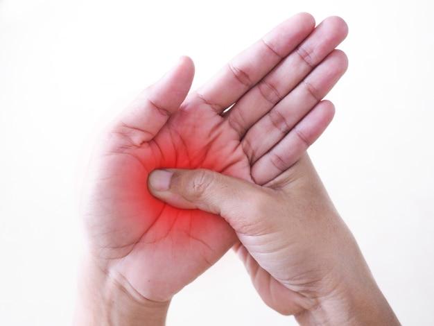 Dolore acuto al polso, dolore alle mani, muscoli della palma infiammatoria da sindrome dell'ufficio o sindrome del tunnel carpale.