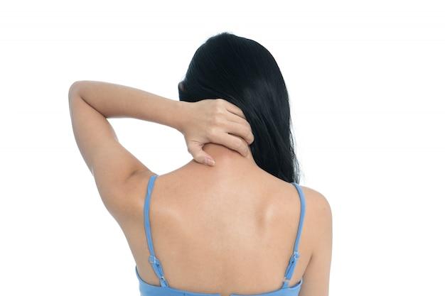 Dolore al collo della donna su fondo bianco
