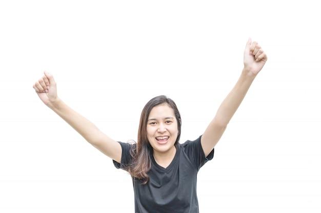 Donna asiatica del primo piano con moto felice di posizione isolata su bianco