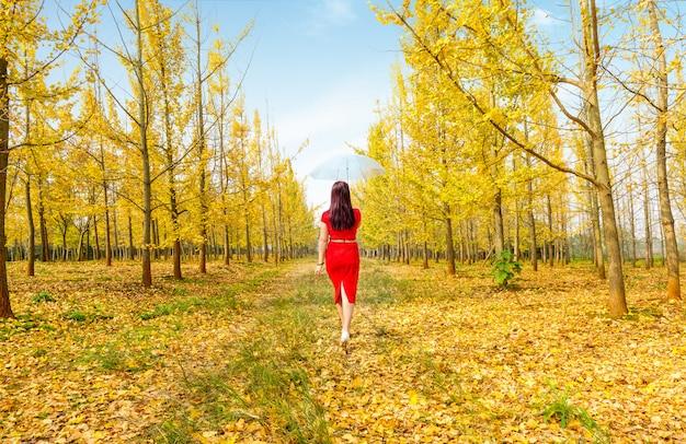 Donna che cammina nella foresta sulla strada