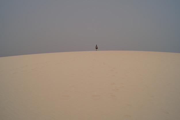 Donna che cammina su una duna del deserto