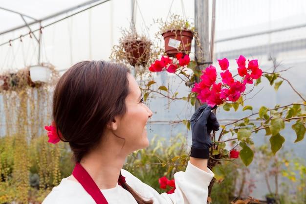Donna che indossa vestiti di giardinaggio e fiori commoventi in serra