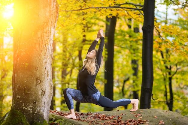 Donna che pratica yoga sul grande masso