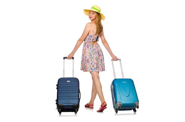 Donna che prepara per le vacanze estive
