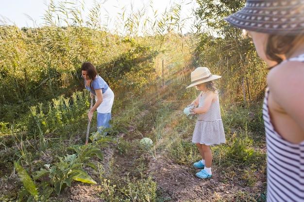 Donna che raccoglie verdure con le sue due figlie nella fattoria