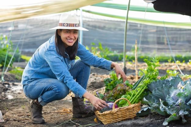Donna che raccoglie verdure