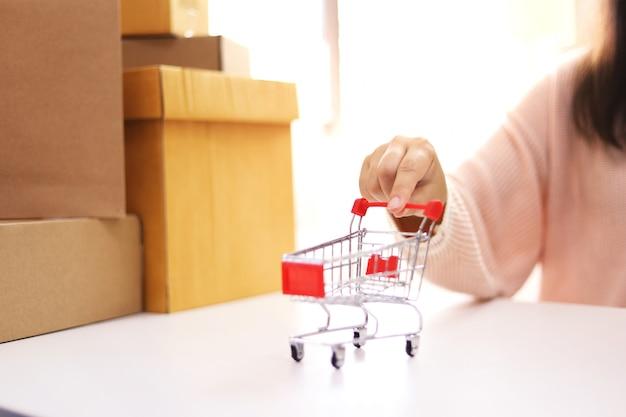 Donna che spende soldi e piccolo carrello con le attività bancarie di internet sul computer portatile per lo shopping online di e-commerce online che lavora da casa