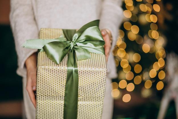 Donna che tiene un regalo di natale, alto vicino della scatola