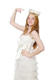 Donna con corona isolata on white