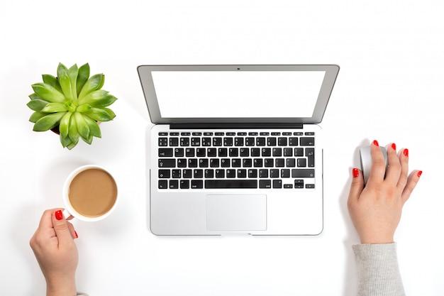 Donna con i chiodi rossi che tengono tazza di caffè e che lavorano al computer portatile moderno vicino al vaso della pianta e al fondo bianco.