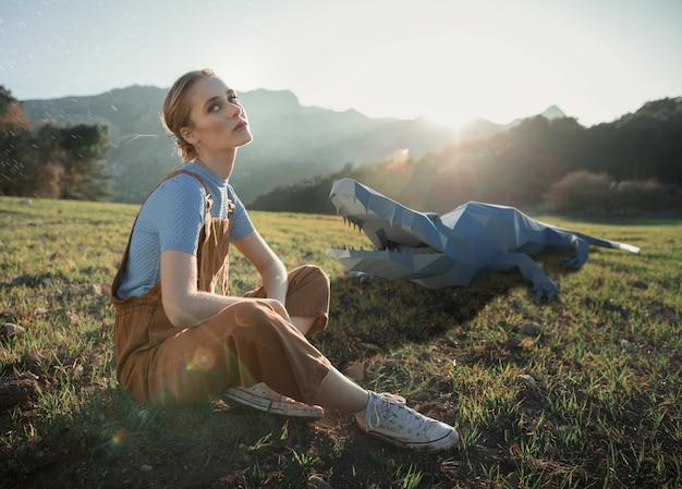 Donna con il coccodrillo 3d illustrato