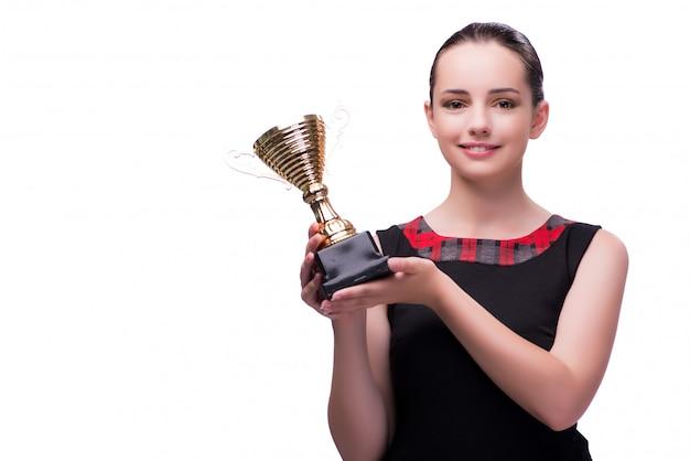 Donna con il premio della tazza isolato su bianco