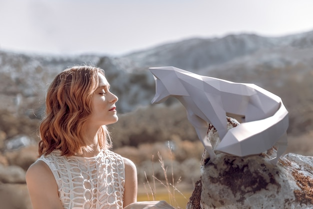 Donna con la volpe 3d illustrata