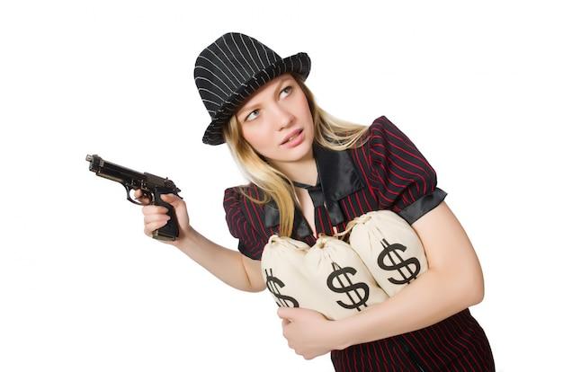 Donna con sacchi di denaro su bianco