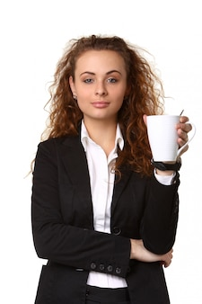 Donna d'affari con una tazza di tè