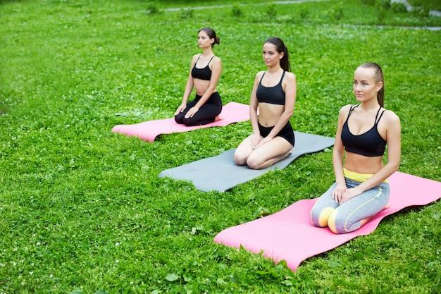 Donna del gruppo che fa yoga in parco.