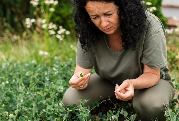 Donna del primo piano che si occupa delle piante