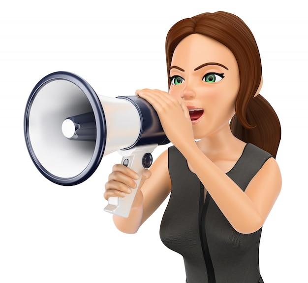 Donna di affari 3d che parla su un megafono